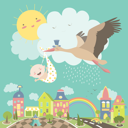 Ilustración de Stork is flying in the sky with baby above the city. illustration - Imagen libre de derechos