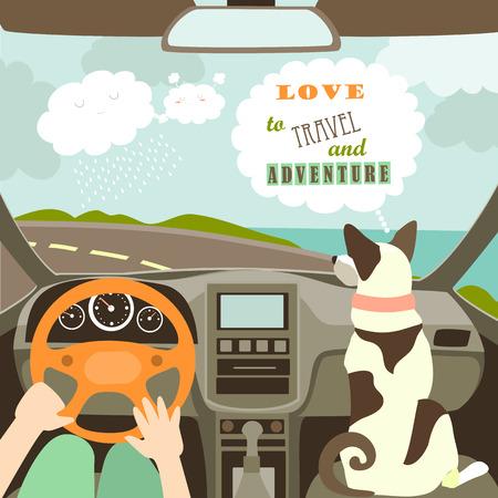 Illustration pour Owner having a car trip with their dog. illustration - image libre de droit