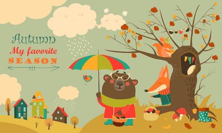 Ilustración de Cute animals walking in autumn forest. Vector illustration - Imagen libre de derechos