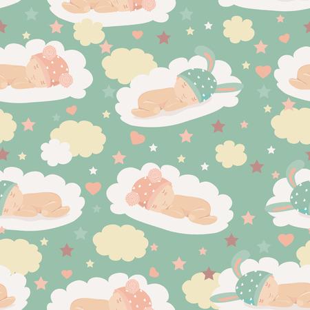 Illustration pour Vector cute babies on clouds seamless pattern - image libre de droit