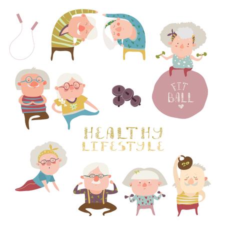 Vector set of elderly people doing exercises