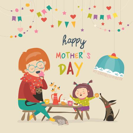 Illustration for Happy mother with her daughter Vector illustration. - Royalty Free Image