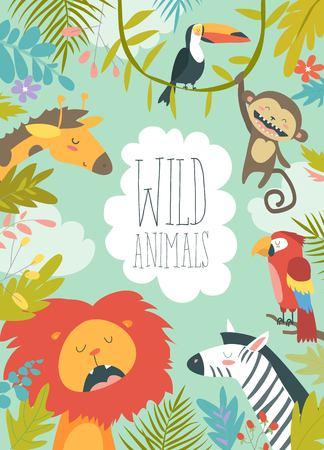 Illustration pour Happy jungle animals creating a framed background - image libre de droit