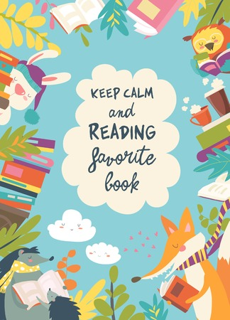 Illustration for Cute frame composed of animals reading books - Royalty Free Image
