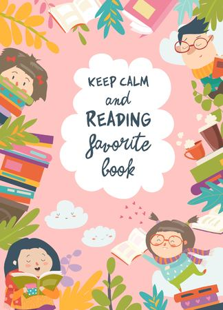 Illustration pour Cute frame composed of children reading books - image libre de droit
