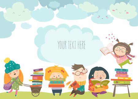 Illustration pour Group of cartoon children reading books - image libre de droit