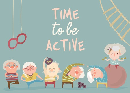 Illustration pour Cartoon elderly people doing exercises. Vector illustration - image libre de droit