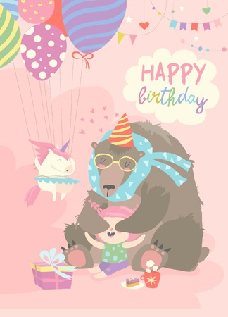 Illustration for Little girl celebrating Birthday with bear. Vector greeting card - Royalty Free Image