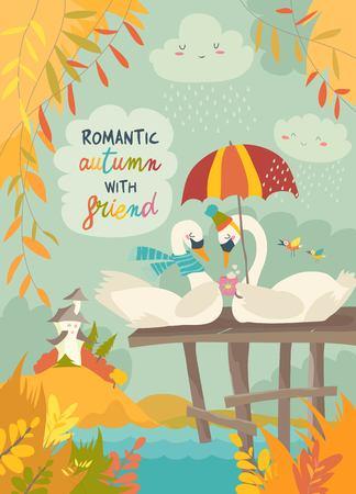 Illustration pour Cute romantic swans in autumn park. Vector illustration - image libre de droit