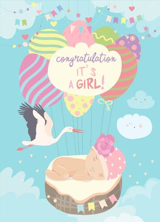 Illustration for Stork and baby on blue sky. Vector illustration - Royalty Free Image