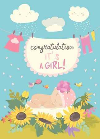Illustration for Nice card with cute baby in flowers. Vector illustration - Royalty Free Image