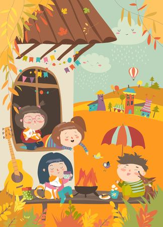 Illustration for Cute friends sitting around bonfire at backyard. Vector autumn illustration - Royalty Free Image