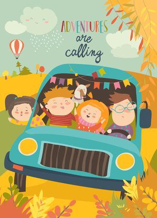 Photo pour Cute children traveling by bus. Vector illustration - image libre de droit