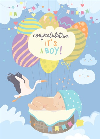 Illustration pour Stork and baby on blue sky. Vector illustration - image libre de droit