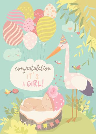 Illustration for Cute stork and baby in basket. Vector illustration - Royalty Free Image