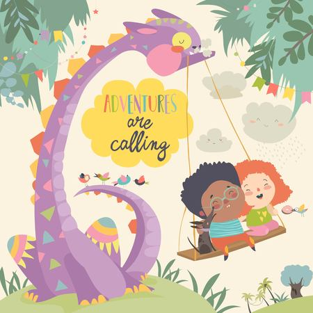 Illustration pour Happy children with funny monster. Adventures are calling. Vector illustration - image libre de droit