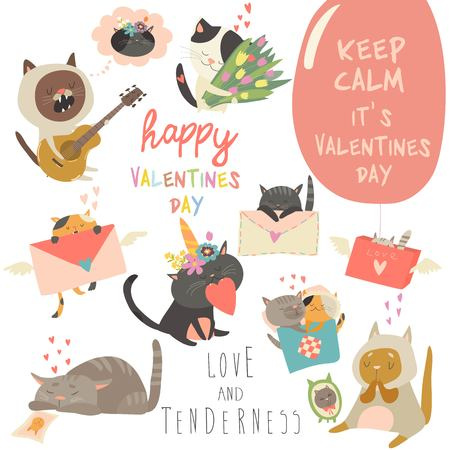Illustration pour Set of vector cartoon characters cats in love theme. Valentines Day - image libre de droit