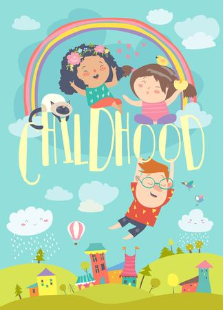 Illustration pour Happy children with rainbow. Summer background. Vector illustration - image libre de droit
