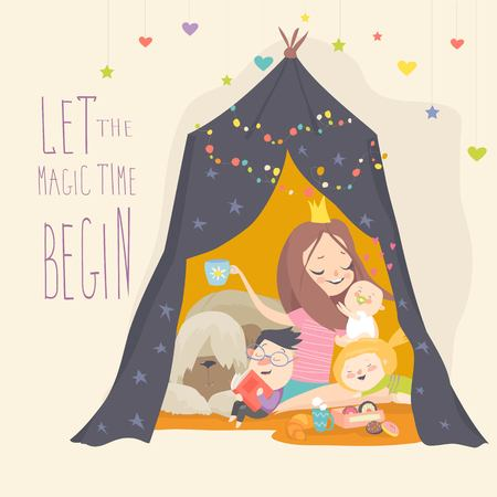Illustration for Mum and her son playing in a tepee tent. Kids having fun in a hut. Vector Illustration - Royalty Free Image