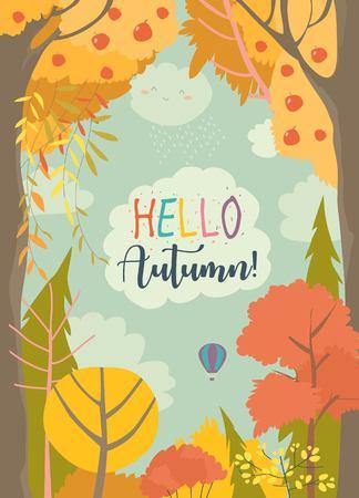 Illustration pour Cartoon frame with autumn forest. Hello autumn - image libre de droit