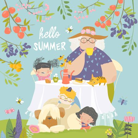 Illustration for Granny and her grandchildren have lunch in blossom garden - Royalty Free Image