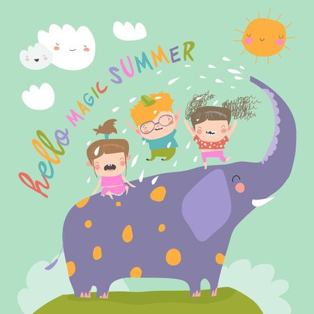 Illustration for Happy kids with big elephant meet summer - Royalty Free Image