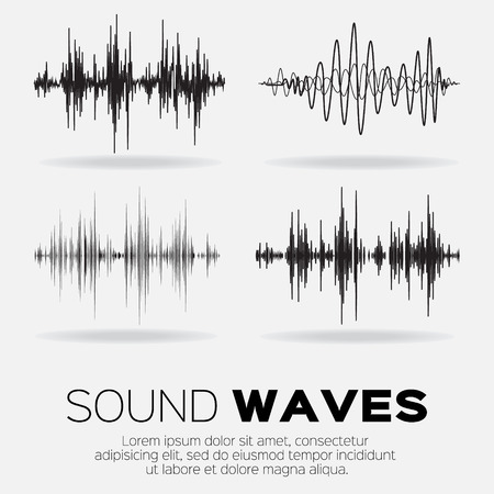 Vector music sound waves set. Audio sound equalizer technology, pulse musical. Vector illustration
