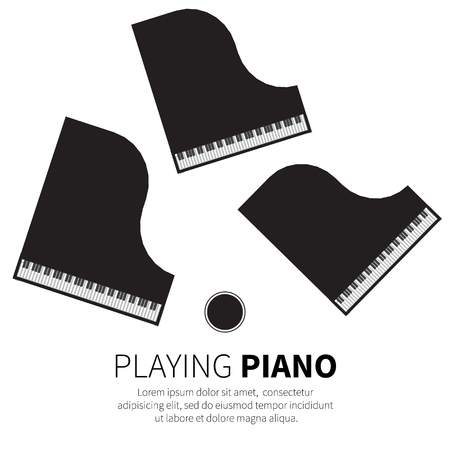 Grand piano and chair. Music instrument. Vector illustration