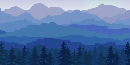 Illustration pour View of blue mountains reflected in the water.Mountain  landscape. - image libre de droit