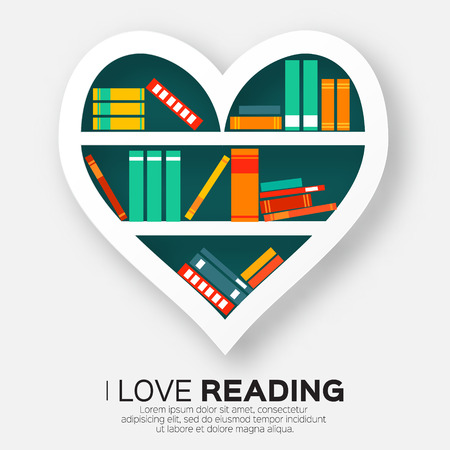 Illustration for Bookshelves in the form of heart with colorful books. Reading. I love books.  Home library with literature, vector illustration - Royalty Free Image