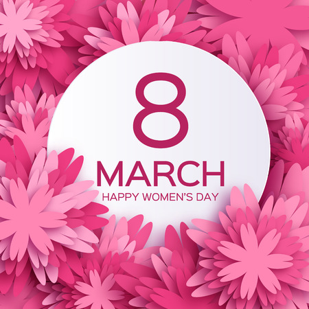 Illustration for Abstract Pink Floral Greeting card - International Happy Women's Day - 8 March holiday background with paper cut Frame Flowers. - Royalty Free Image