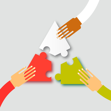 Illustration pour Three hands together team work. Hands putting puzzle pieces. Teamwork and bussiness concept. Hands of different colors, cultural and ethnic diversity. Vector illustration - image libre de droit