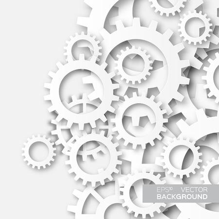 Illustration pour Mechanism system cogwheels. White gears. Origami paper cut style tech project. - image libre de droit