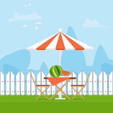 Summer picnic on the backyard. Outdoor recreation. Table with chairs,umbrella and watermelon. Vector illustration in flat style and blue background
