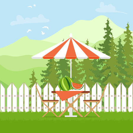 Summer picnic. Outdoor recreation. Table with chairs,umbrella and watermelon. Vector illustration in flat style and blue background