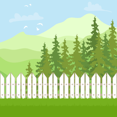 Summer Outdoor recreation. Mountain Landscape with forest and fence. Vector illustration