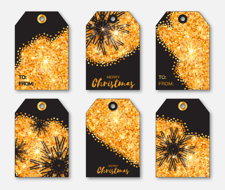 Festive collection of gold glitter texture Christmas labels. Ready-to-use gift tags. Xmas and New Year Set of 6 printable origami holiday label. Vector seasonal badge design illustration