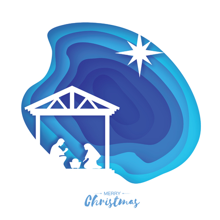 Illustration for Birth of Christ. Baby Jesus in the manger. Holy Family. Magi. S Star of Bethlehem - east comet. Nativity Christmas graphics design in paper cut style. Vector - Royalty Free Image