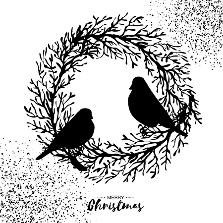 Christmas Wreath Silhouette Free.Black Christmas Wreath With Bullfinch Tree Branch Birds