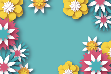 Ilustración de Paper cut Floral Greeting card. Origami flower. Space for Text. Rectangle frame. Spring blossom. Seasonal holiday on sky blue. Modern paper decoration. - Imagen libre de derechos