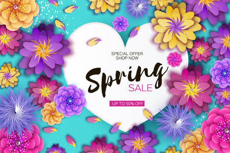Illustration for Bright Origami Spring Sale Flowers Banner. Paper cut Exotic Tropical Floral Greetings card. Spring blossom. Love Heart frame. Happy Womens Day. 8 March. Text. Seasonal holiday on blue. Trendy decor. - Royalty Free Image