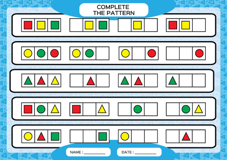 Illustration pour Complete simple repeating patterns. Worksheet for preschool kids. Practicing motor skills, improving skills tasks. Complete the pattern with geometrical 3 shapes. Draw and color, Blue background. - image libre de droit