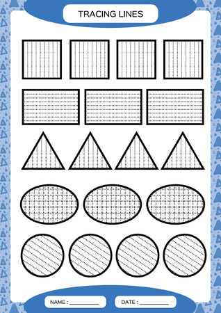 Illustration pour Tracing Lines. Kids education. Preschool worksheet. Basic writing. Kids doing worksheets. Fine motor skills. Blue background. Square, circle triangleVector - image libre de droit