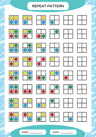 Illustration pour Repeat pattern. Square grid with colorfull circles. Special for preschool kids. Worksheet for practicing fine motor skills. Improving skills tasks. Green A4. Snap game. 2x2. - image libre de droit