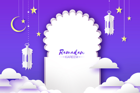 Illustration pour Arabic window arch, lantern with white mosque in papercraft style. Origami Ramadan Kareem greeting card. Crescent Moon and star. Holy month of muslim. Symbol of Islam. - image libre de droit