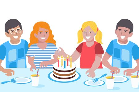 Photo pour Birthday Children. Cute Girls and Boys. Happy Smiling Kids Greeting Card. Birthday party. Sweet cake. - image libre de droit