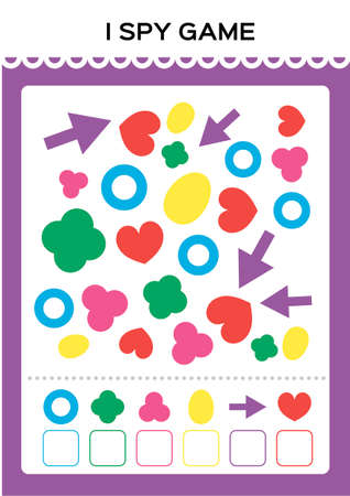 Illustration pour I spy game. Find and Count shapes for toddlers. Counting activity for kids. Educational for kids. Basic Geometrical shapes. Elementary math worksheet. - image libre de droit
