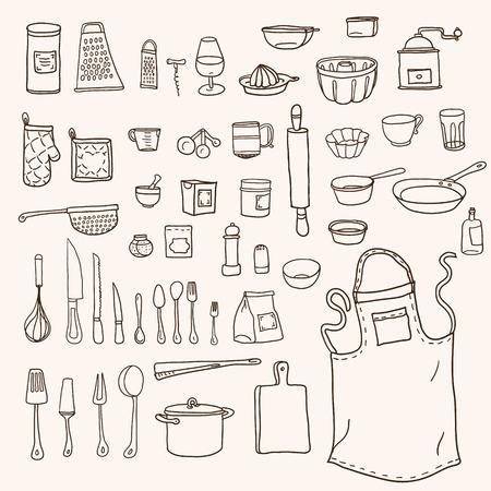 Illustration pour Cooking. Kitchen utensils collection in doodle style - image libre de droit