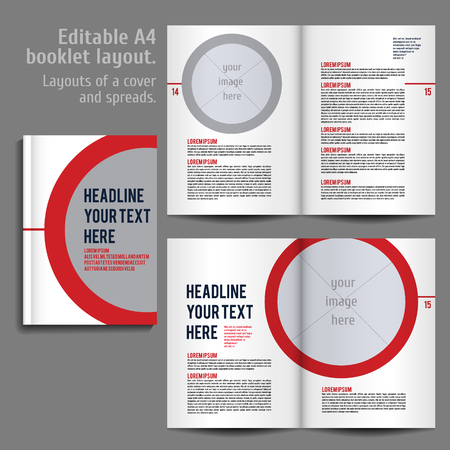 A4 booklet Layout Design Template with Cover and 2 spreads of Contents Preview. For design magazine, book, annual report.
