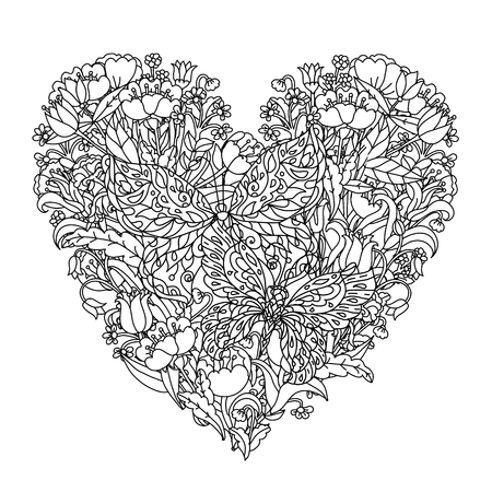 Butterfly Heart Coloring Illustration